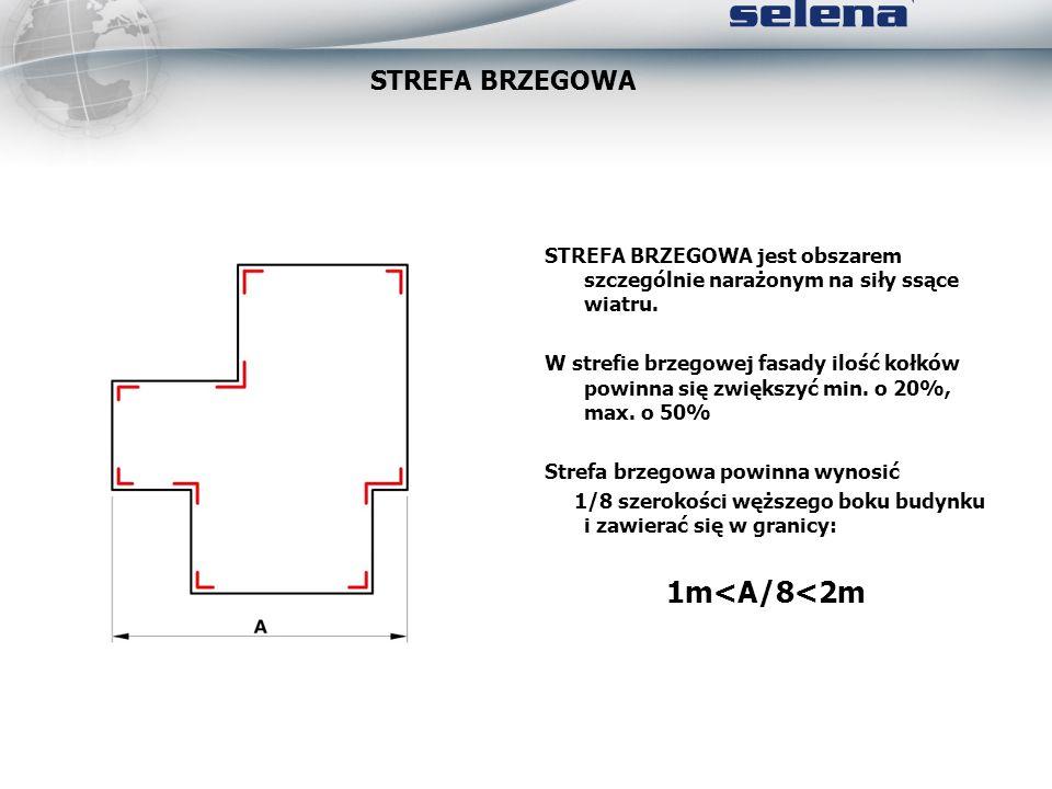 STREFA BRZEGOWA jest obszarem szczególnie narażonym na siły ssące wiatru. W strefie brzegowej fasady ilość kołków powinna się zwiększyć min. o 20%, ma