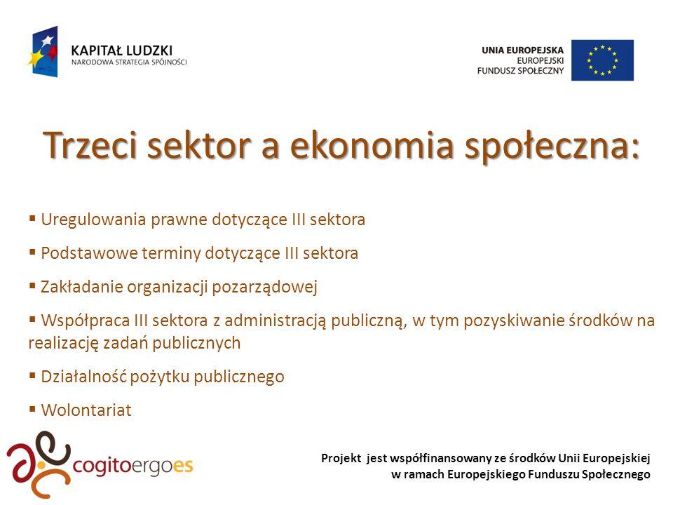 Projekt jest współfinansowany ze środków Unii Europejskiej w ramach Europejskiego Funduszu Społecznego Trzeci sektor a ekonomia społeczna: Uregulowania prawne dotyczące III sektora Podstawowe terminy dotyczące III sektora Zakładanie organizacji pozarządowej Współpraca III sektora z administracją publiczną, w tym pozyskiwanie środków na realizację zadań publicznych Działalność pożytku publicznego Wolontariat