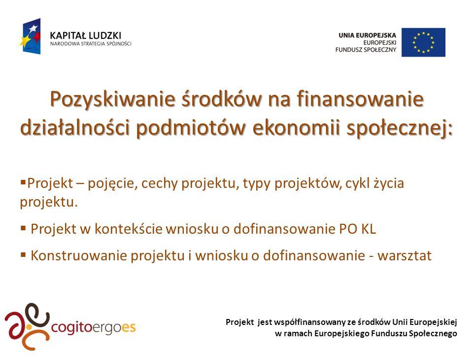 Projekt jest współfinansowany ze środków Unii Europejskiej w ramach Europejskiego Funduszu Społecznego Pozyskiwanie środków na finansowanie działalności podmiotów ekonomii społecznej: Projekt – pojęcie, cechy projektu, typy projektów, cykl życia projektu.