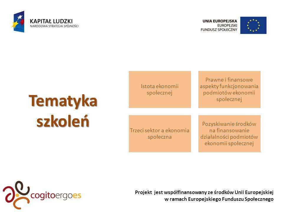Projekt jest współfinansowany ze środków Unii Europejskiej w ramach Europejskiego Funduszu Społecznego Istota ekonomii społecznej Prawne i finansowe aspekty funkcjonowania podmiotów ekonomii społecznej Trzeci sektor a ekonomia społeczna Pozyskiwanie środków na finansowanie działalności podmiotów ekonomii społecznejTematykaszkoleń