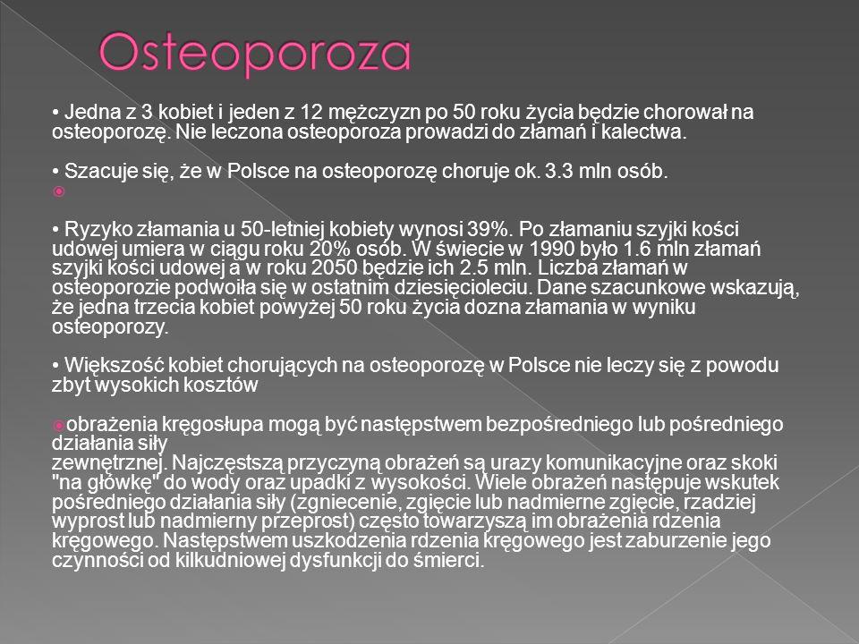 Jedna z 3 kobiet i jeden z 12 mężczyzn po 50 roku życia będzie chorował na osteoporozę. Nie leczona osteoporoza prowadzi do złamań i kalectwa. Szacuje