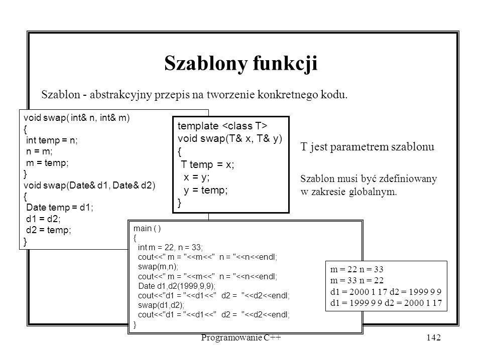Programowanie C++142 Szablony funkcji Szablon - abstrakcyjny przepis na tworzenie konkretnego kodu. T jest parametrem szablonu Szablon musi być zdefin