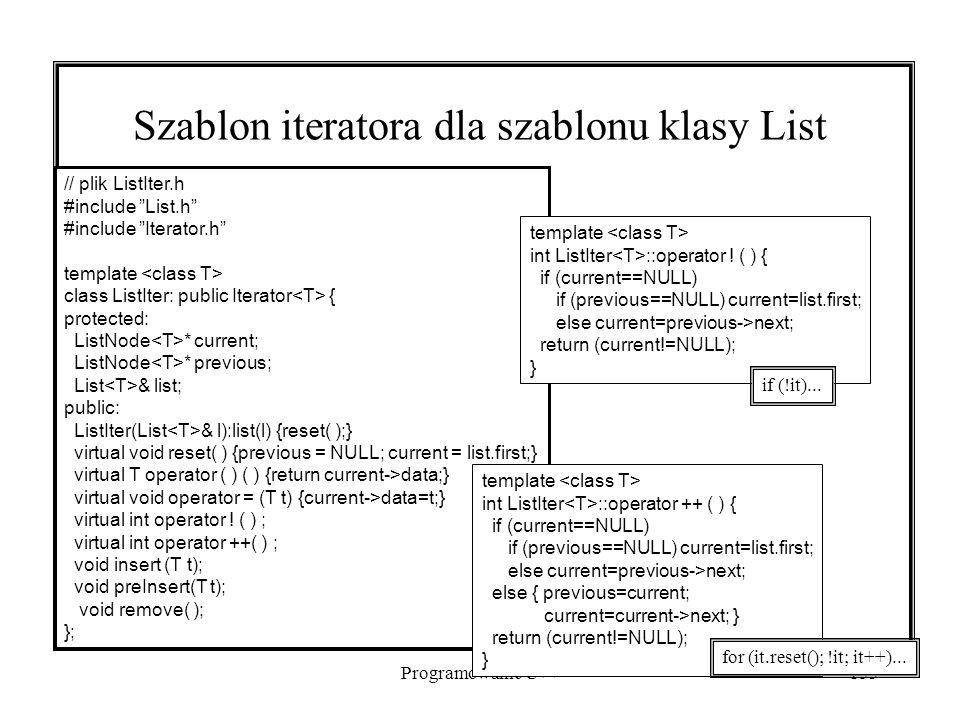 Programowanie C++153 Szablon iteratora dla szablonu klasy List // plik ListIter.h #include List.h #include Iterator.h template class ListIter: public