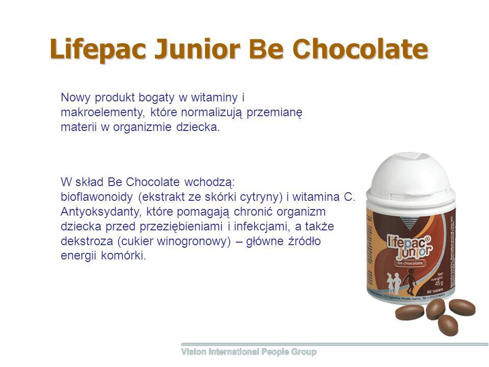 Lifepac Junior В e С hocolate W skład Be Chocolate wchodzą: bioflawonoidy (ekstrakt ze skórki cytryny) i witamina C.