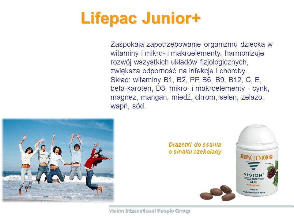 Lifepac Junior+ Zaspokaja zapotrzebowanie organizmu dziecka w witaminy i mikro- i makroelementy, harmonizuje rozwój wszystkich układów fizjologicznych, zwiększa odporność na infekcje i choroby.