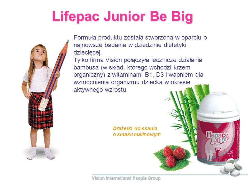 Lifepac Junior Be Big Formuła produktu została stworzona w oparciu o najnowsze badania w dziedzinie dietetyki dziecięcej.
