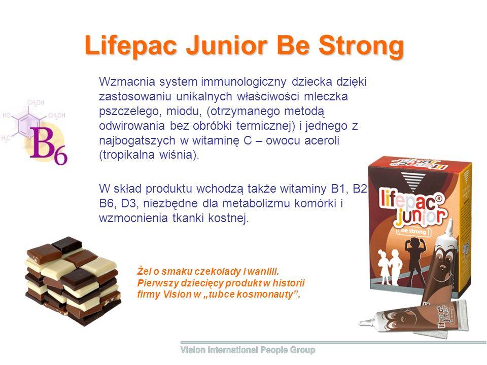 Lifepac Junior Be Strong W skład produktu wchodzą także witaminy B1, B2, B6, D3, niezbędne dla metabolizmu komórki i wzmocnienia tkanki kostnej.