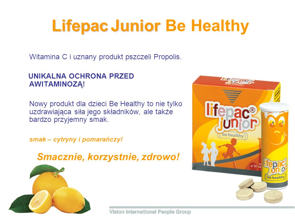 Lifepac Junior Lifepac Junior Be Healthy Witamina С i uznany produkt pszczeli Propolis.