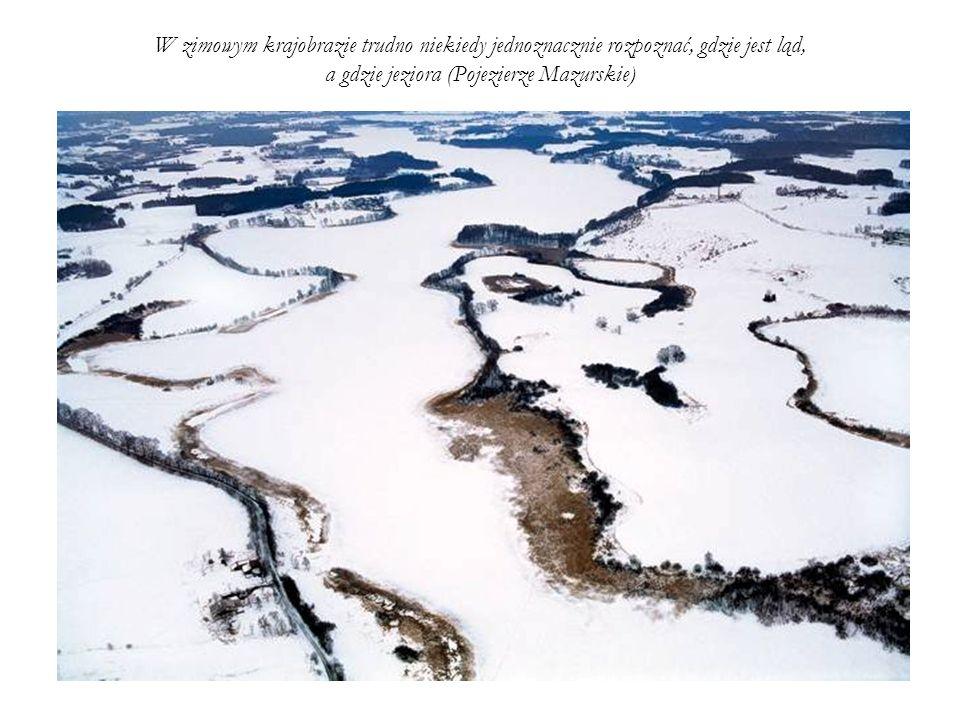 W zimowym krajobrazie trudno niekiedy jednoznacznie rozpoznać, gdzie jest ląd, a gdzie jeziora (Pojezierze Mazurskie)
