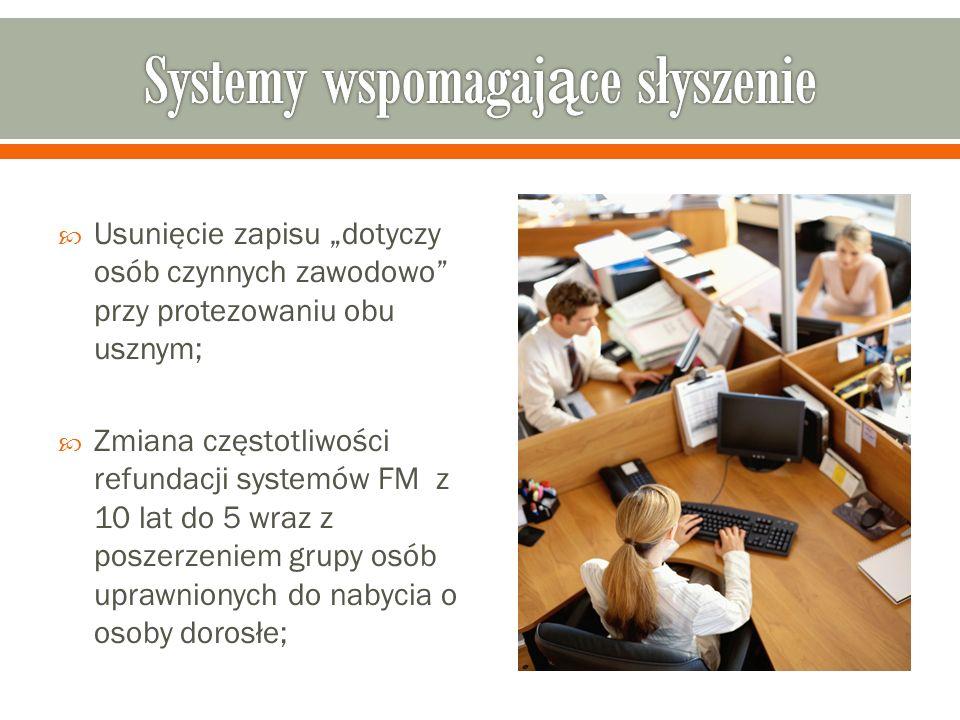 Usunięcie zapisu dotyczy osób czynnych zawodowo przy protezowaniu obu usznym; Zmiana częstotliwości refundacji systemów FM z 10 lat do 5 wraz z poszer