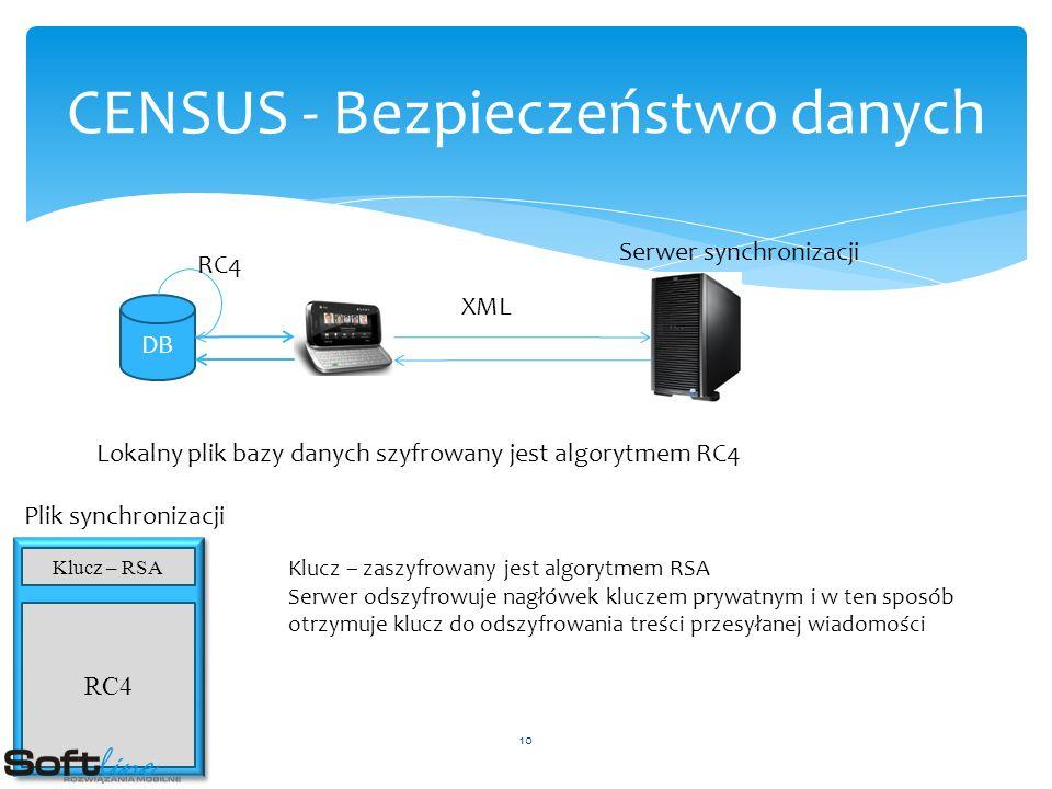 CENSUS - Bezpieczeństwo danych DB RC4 XML Serwer synchronizacji Lokalny plik bazy danych szyfrowany jest algorytmem RC4 Klucz – RSA Plik synchronizacji RC4 Klucz – zaszyfrowany jest algorytmem RSA Serwer odszyfrowuje nagłówek kluczem prywatnym i w ten sposób otrzymuje klucz do odszyfrowania treści przesyłanej wiadomości 10