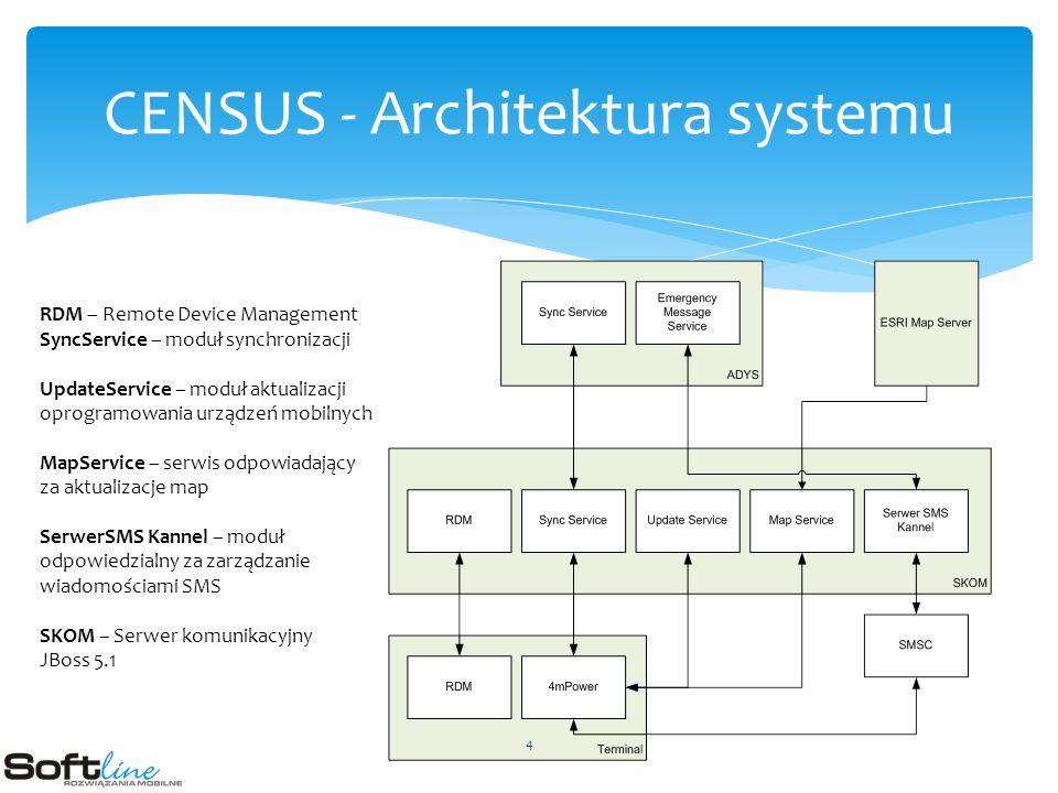 CENSUS - Architektura systemu RDM – Remote Device Management SyncService – moduł synchronizacji UpdateService – moduł aktualizacji oprogramowania urządzeń mobilnych MapService – serwis odpowiadający za aktualizacje map SerwerSMS Kannel – moduł odpowiedzialny za zarządzanie wiadomościami SMS SKOM – Serwer komunikacyjny JBoss 5.1 4