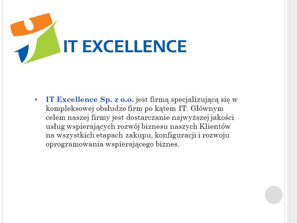 IT E XCELLENCE S P. Z O. O. IT Excellence Sp. z o.o. jest firmą specjalizującą się w kompleksowej obsłudze firm po kątem IT. Głównym celem naszej firm