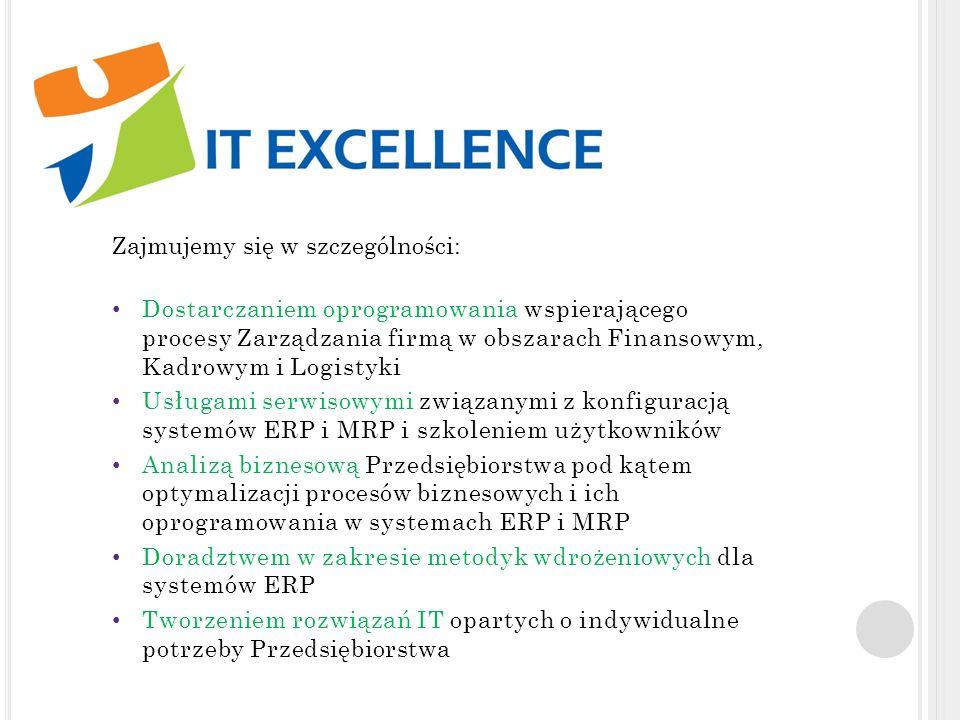 N ASZE A TUTY TO : Wiedza i doświadczenie naszych konsultantów – nasi konsultanci posiadają Wieloletnie doświadczenie w prowadzeniu projektów IT dla Firm i Przedsiębiorstw Własna metodyka Wdrożeniowa – posiadamy własną autorską metodykę wdrażania systemów informatycznych w średnich i dużych firmach Modyfikacje i rozwiązania dodatkowe – wspieramy naszych Klientów tworząc Rozwiązania Indywidualne (raporty, zmiany programistyczne) wspierające biznes Klienta Zrozumienie potrzeb Klienta – nasi konsultanci posiadają szeroką wiedzę z różnych obszarów merytorycznych przedsiębiorstwa takich jak rachunkowość, rachunkowość Zarządcza, przepisy kodeksu pracy itp., która pozwala nam lepiej definiować potrzeby Klienta i przygotować rozwiązania dopasowane do tych potrzeb.