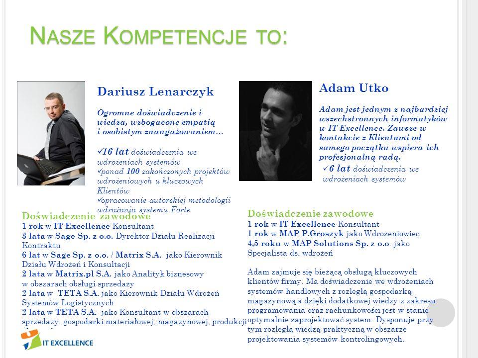 N ASZE K OMPETENCJE TO : Michał Plesiewicz Doświadczenie zawodowe, planowanie, konsekwencja i osiąganie celów w terminie.