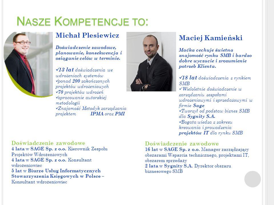 N ASZE K OMPETENCJE TO : Michał Plesiewicz Doświadczenie zawodowe, planowanie, konsekwencja i osiąganie celów w terminie. 13 lat doświadczenia we wdro