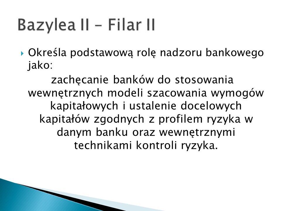 Określa podstawową rolę nadzoru bankowego jako: zachęcanie banków do stosowania wewnętrznych modeli szacowania wymogów kapitałowych i ustalenie docelo