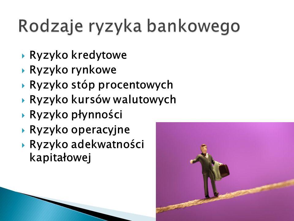 Ryzyko kredytowe Ryzyko rynkowe Ryzyko stóp procentowych Ryzyko kursów walutowych Ryzyko płynności Ryzyko operacyjne Ryzyko adekwatności kapitałowej