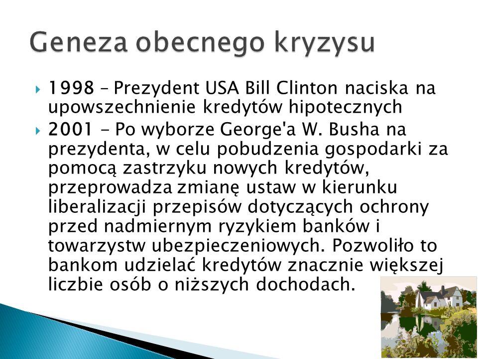 1998 – Prezydent USA Bill Clinton naciska na upowszechnienie kredytów hipotecznych 2001 - Po wyborze George'a W. Busha na prezydenta, w celu pobudzeni