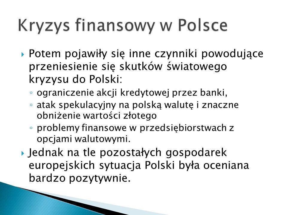 Potem pojawiły się inne czynniki powodujące przeniesienie się skutków światowego kryzysu do Polski: ograniczenie akcji kredytowej przez banki, atak sp