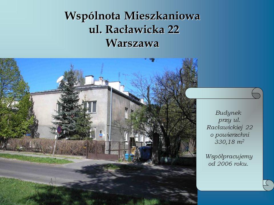 Wspólnota Mieszkaniowa ul. Racławicka 22 Warszawa Budynek przy ul. Racławickiej 22 o powierzchni 330,18 m 2 Współpracujemy od 2006 roku.
