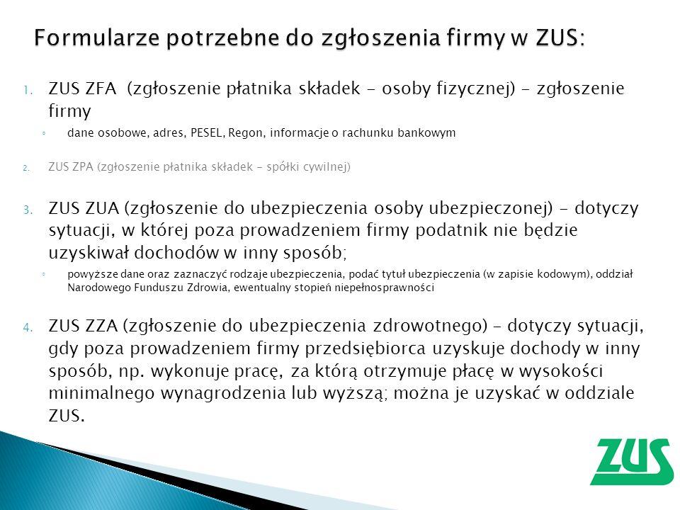 1. ZUS ZFA (zgłoszenie płatnika składek - osoby fizycznej) - zgłoszenie firmy dane osobowe, adres, PESEL, Regon, informacje o rachunku bankowym 2. ZUS