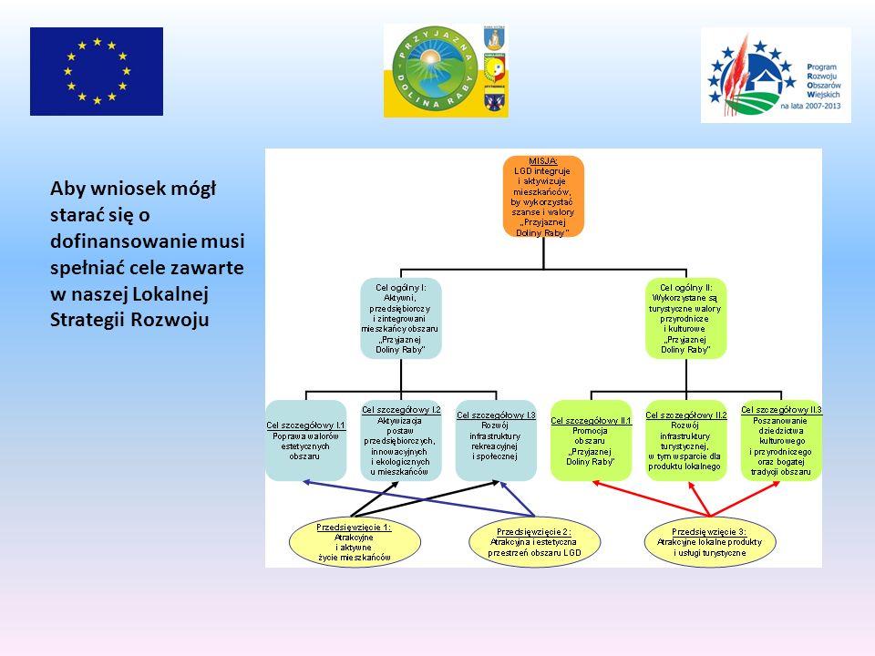 Aby wniosek mógł starać się o dofinansowanie musi spełniać cele zawarte w naszej Lokalnej Strategii Rozwoju