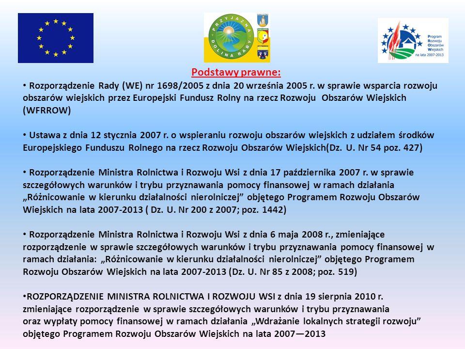 Podstawy prawne: Rozporządzenie Rady (WE) nr 1698/2005 z dnia 20 września 2005 r.