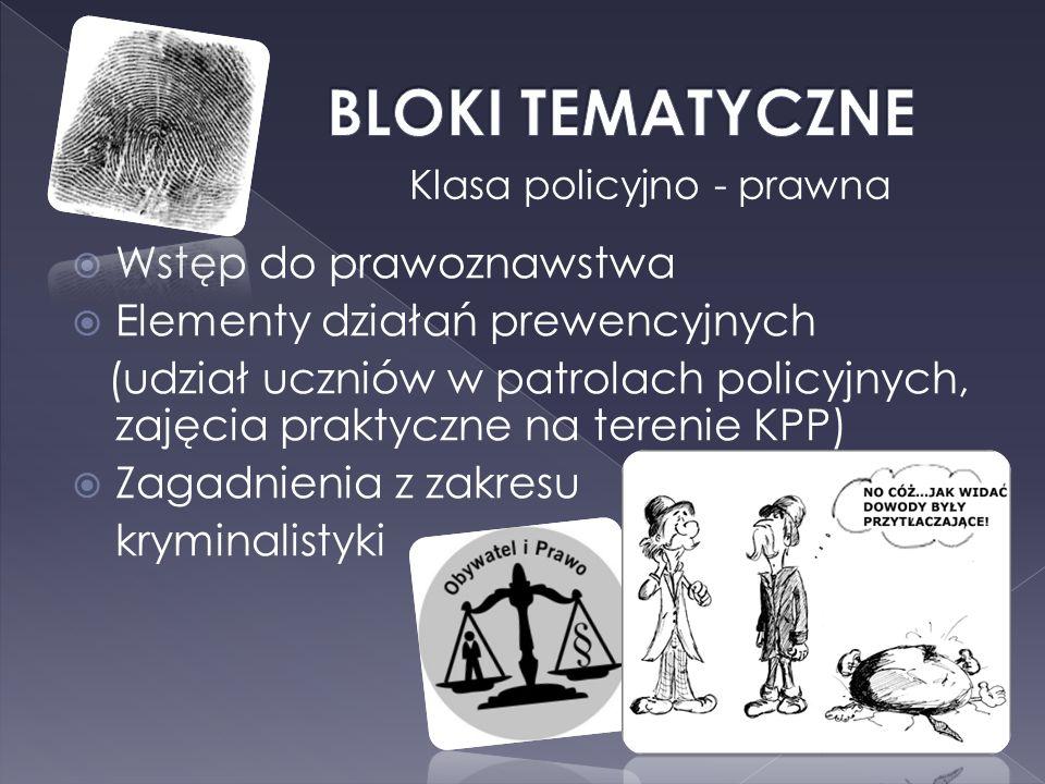 Wstęp do prawoznawstwa Elementy działań prewencyjnych (udział uczniów w patrolach policyjnych, zajęcia praktyczne na terenie KPP) Zagadnienia z zakres