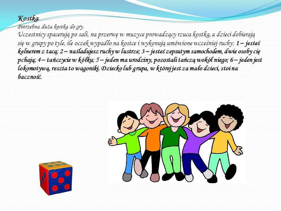 Grupa siedem Rozdajemy dzieciom szarfy w dwóch kolorach. Dzieci chodzą w rytm muzyki. Na hasło grupa trzy jak najszybciej formują się w trzyosobowe ze
