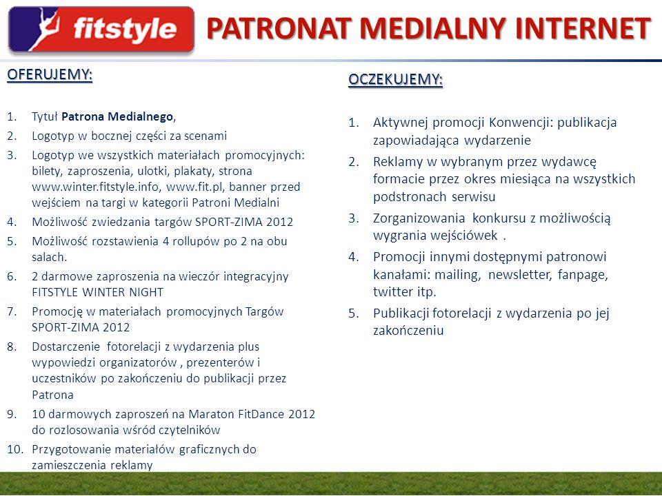 GRUPA FIT.PL PATRONAT MEDIALNY INTERNET OFERUJEMY: 1.Tytuł Patrona Medialnego, 2.Logotyp w bocznej części za scenami 3.Logotyp we wszystkich materiała