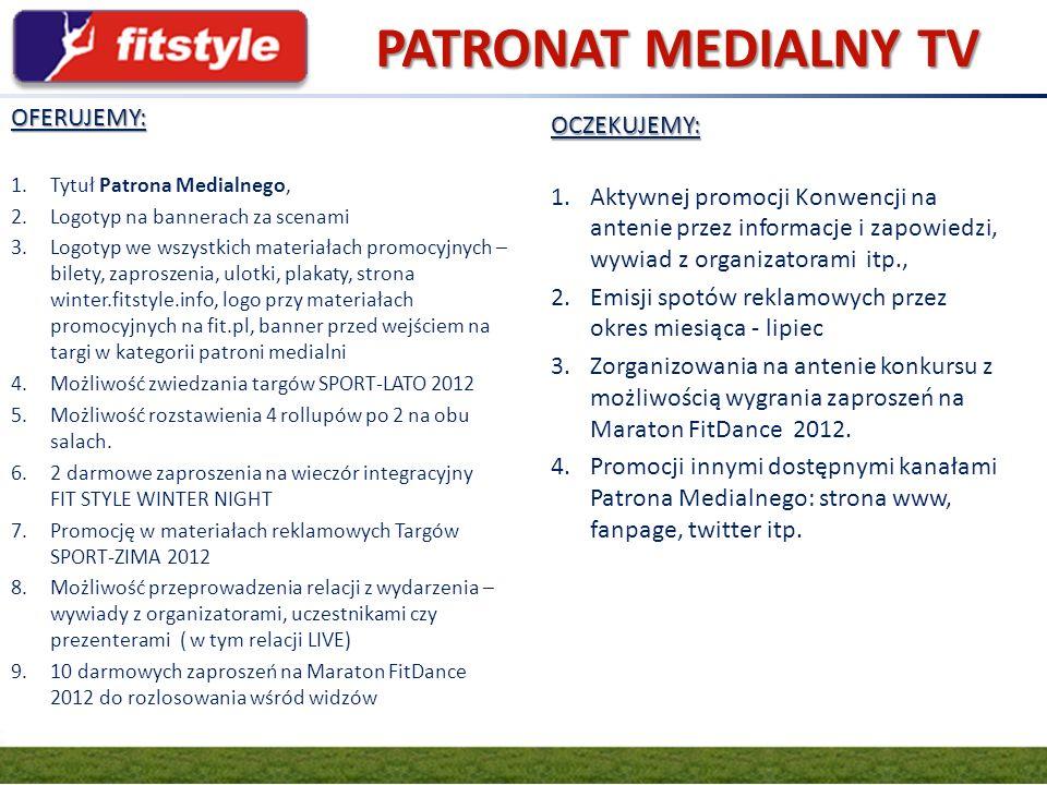 GRUPA FIT.PL PATRONAT MEDIALNY TV OFERUJEMY: 1.Tytuł Patrona Medialnego, 2.Logotyp na bannerach za scenami 3.Logotyp we wszystkich materiałach promocy