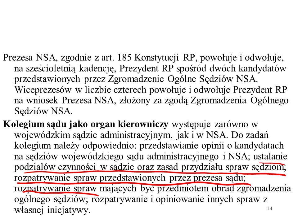 14 Prezesa NSA, zgodnie z art. 185 Konstytucji RP, powołuje i odwołuje, na sześcioletnią kadencję, Prezydent RP spośród dwóch kandydatów przedstawiony