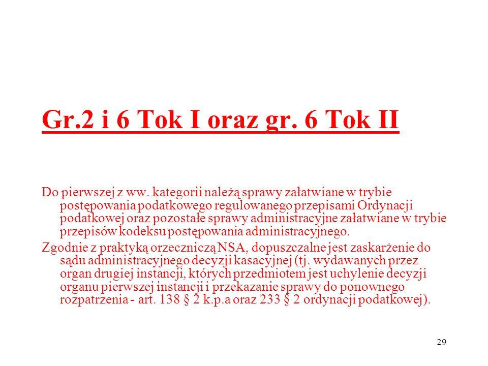 29 Gr.2 i 6 Tok I oraz gr. 6 Tok II Do pierwszej z ww. kategorii należą sprawy załatwiane w trybie postępowania podatkowego regulowanego przepisami Or