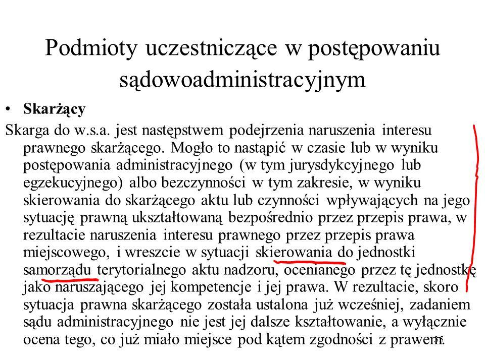 35 Podmioty uczestniczące w postępowaniu sądowoadministracyjnym Skarżący Skarga do w.s.a. jest następstwem podejrzenia naruszenia interesu prawnego sk