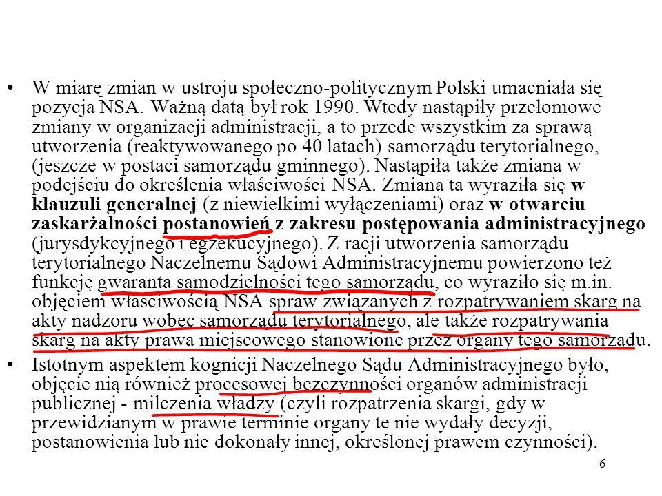 7 Charakterystyka instytucjonalna sądownictwa administracyjnego Ustawy organizujące dwuinstancyjne sądownictwo administracyjne: ustawa z 25 lipca 2002 r.