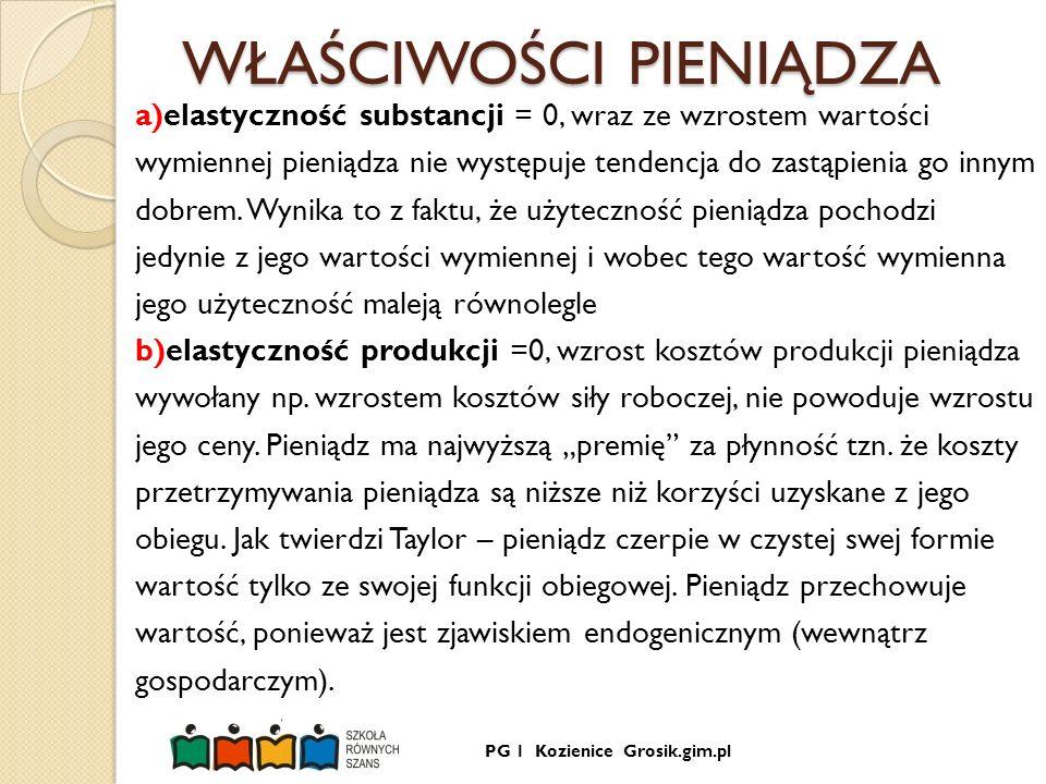 PG 1 Kozienice Grosik.gim.pl WŁAŚCIWOŚCI PIENIĄDZA a)elastyczność substancji = 0, wraz ze wzrostem wartości wymiennej pieniądza nie występuje tendencj