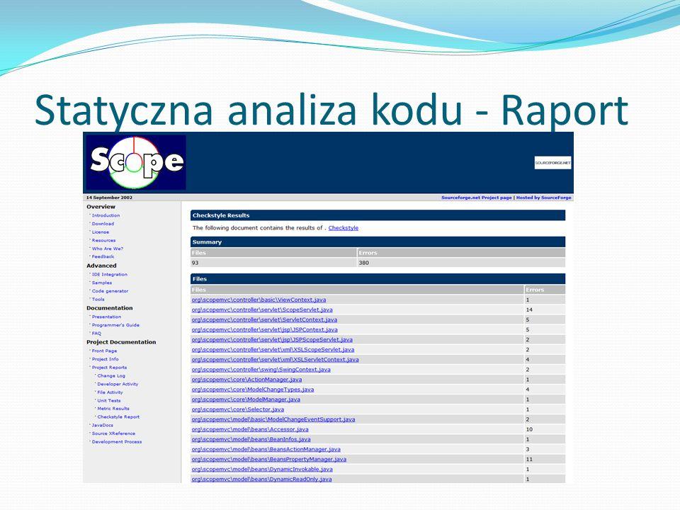 Statyczna analiza kodu - Raport