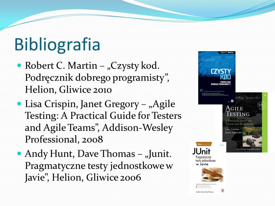 Bibliografia Robert C. Martin – Czysty kod.