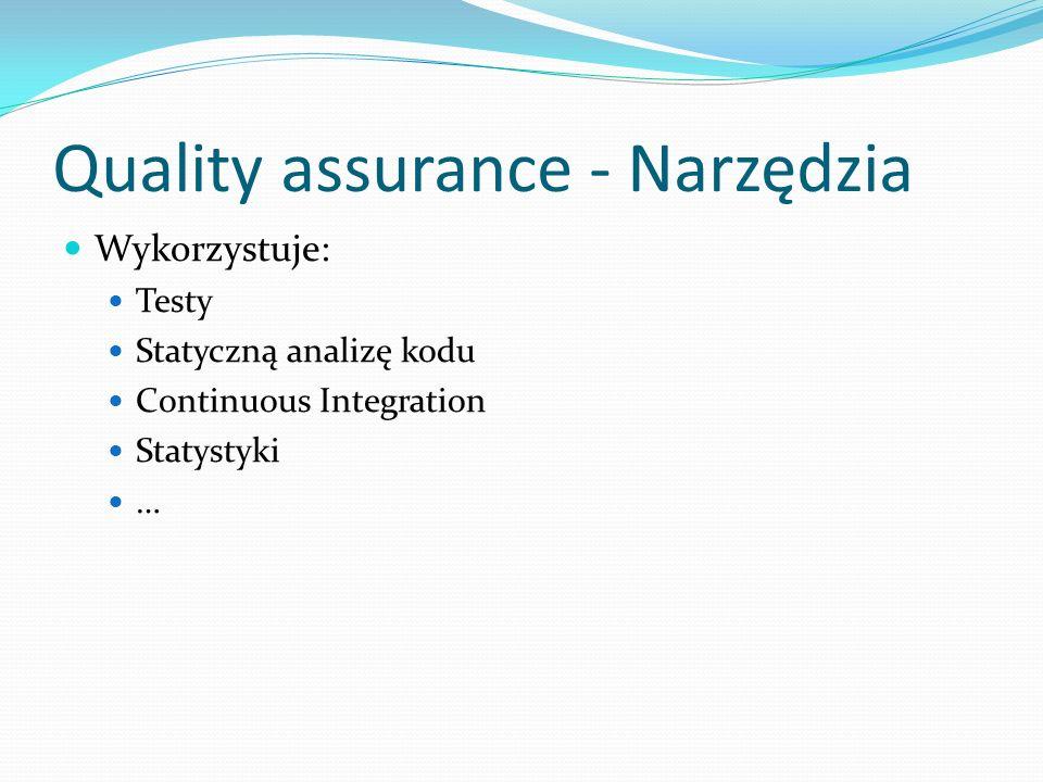 Quality assurance - Narzędzia Wykorzystuje: Testy Statyczną analizę kodu Continuous Integration Statystyki …