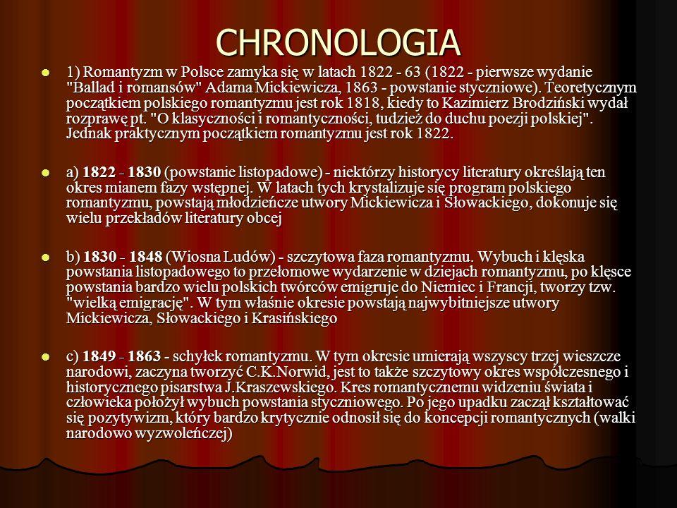 CHRONOLOGIA 1) Romantyzm w Polsce zamyka się w latach 1822 - 63 (1822 - pierwsze wydanie