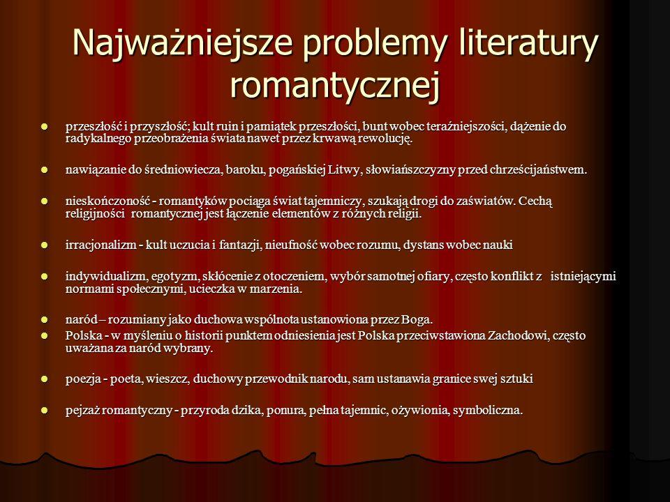 Najważniejsze problemy literatury romantycznej przeszłość i przyszłość; kult ruin i pamiątek przeszłości, bunt wobec teraźniejszości, dążenie do radyk