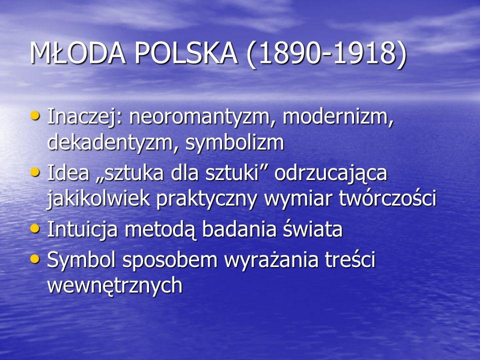 MŁODA POLSKA (1890-1918) Inaczej: neoromantyzm, modernizm, dekadentyzm, symbolizm Inaczej: neoromantyzm, modernizm, dekadentyzm, symbolizm Idea sztuka