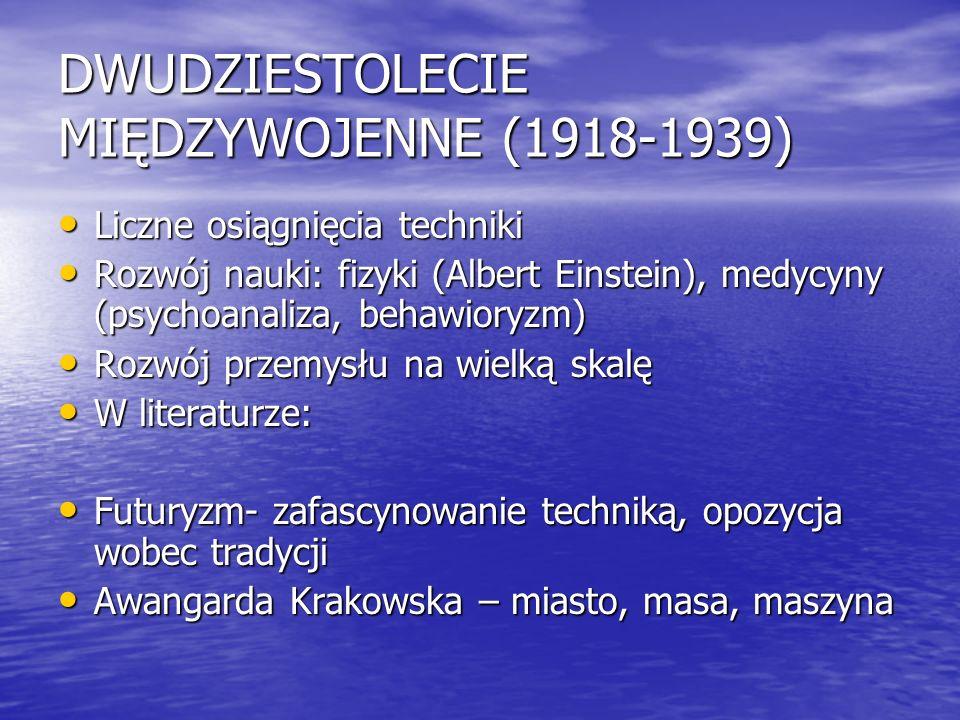 DWUDZIESTOLECIE MIĘDZYWOJENNE (1918-1939) Liczne osiągnięcia techniki Liczne osiągnięcia techniki Rozwój nauki: fizyki (Albert Einstein), medycyny (ps