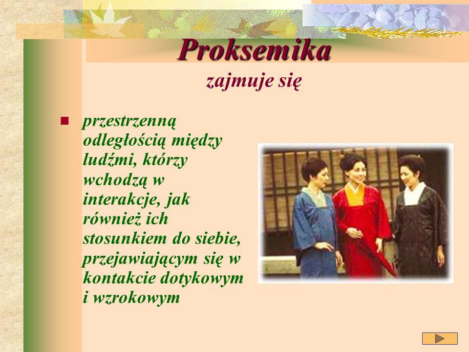 Proksemika Proksemika zajmuje się przestrzenną odległością między ludźmi, którzy wchodzą w interakcje, jak również ich stosunkiem do siebie, przejawiającym się w kontakcie dotykowym i wzrokowym