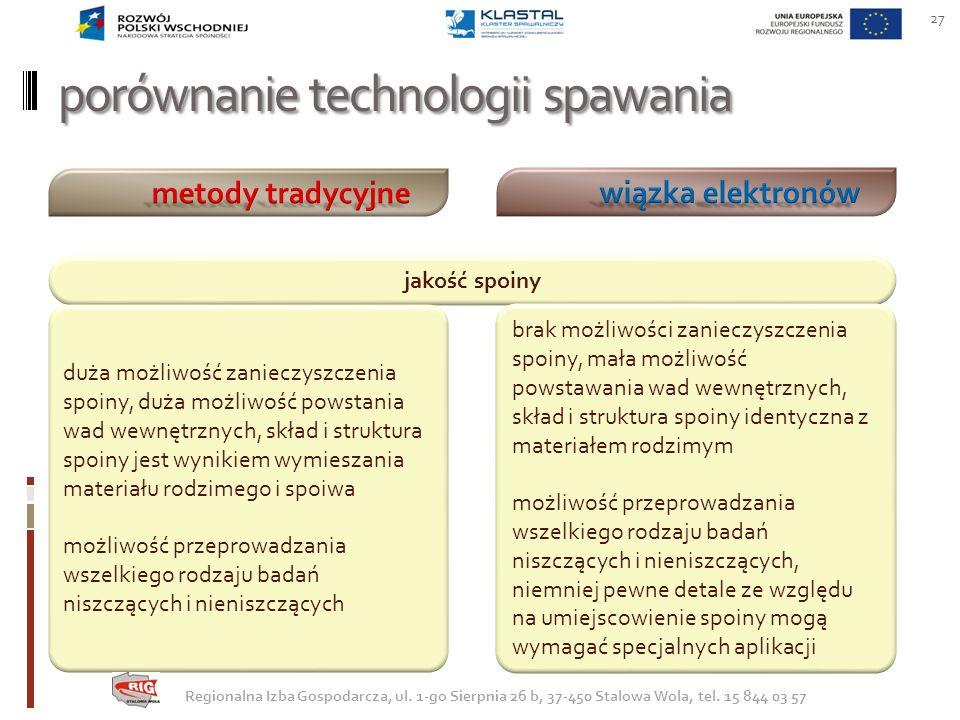 porównanie technologii spawania 27 jakość spoiny duża możliwość zanieczyszczenia spoiny, duża możliwość powstania wad wewnętrznych, skład i struktura