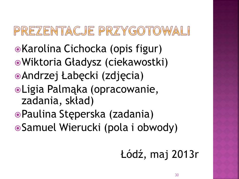 Karolina Cichocka (opis figur) Wiktoria Gładysz (ciekawostki) Andrzej Łabęcki (zdjęcia) Ligia Palmąka (opracowanie, zadania, skład) Paulina Stęperska