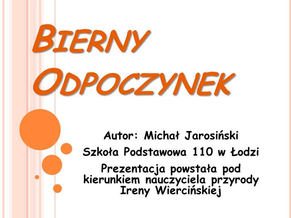 B IERNY O DPOCZYNEK Autor: Michał Jarosiński Szkoła Podstawowa 110 w Łodzi Prezentacja powstała pod kierunkiem nauczyciela przyrody Ireny Wiercińskiej
