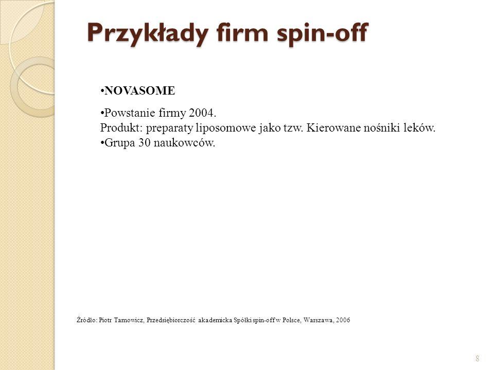Przykłady firm spin-off 8 Źródło: Piotr Tamowicz, Przedsiębiorczość akademicka Spółki spin-off w Polsce, Warszawa, 2006 NOVASOME Powstanie firmy 2004.