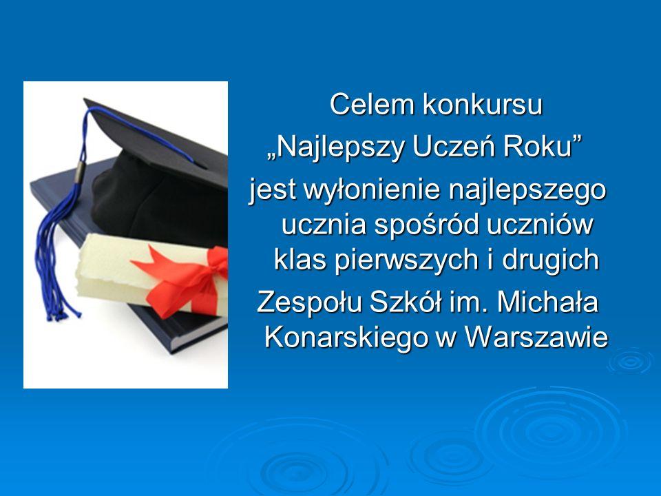 Celem konkursu Najlepszy Uczeń Roku jest wyłonienie najlepszego ucznia spośród uczniów klas pierwszych i drugich jest wyłonienie najlepszego ucznia spośród uczniów klas pierwszych i drugich Zespołu Szkół im.